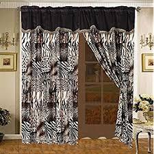 Zebra Valance Curtains Amazon Com 4 Piece Curtain Set 2 Jungle Safari Brown Giraffe