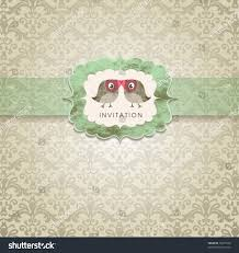 Small Invitation Cards Cute Wedding Invitation Card Vintage Ornament Stock Vector