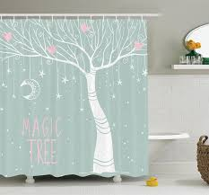 Colored Shower Curtain Ambesonne Tree Moon Pastel Colored Shower Curtain Set
