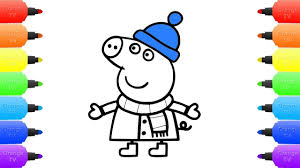 peppa pig snowy winter coloring pages peppa pig nurse snow for
