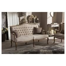French Provincial Sofas Oliver French Provincial Style Weatheoak Wood Fabric Button