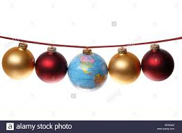 string of ornaments with globe as central ornament or