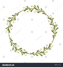 cute gentle handsketched mistletoe wreath seasonal stock vector