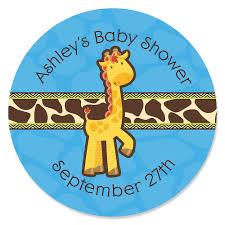 baby shower giraffe giraffe boy personalized baby shower sticker labels 24 ct