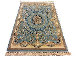 marrakesh blue silk like traditional persian oriental design rug