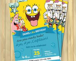 spongebob invitation etsy