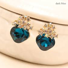 gold diamond stud earrings cheap blue and gold diamond stud earrings for women ewaer013