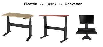 Standing Desk Electric Standing Desk Comparison Electric Vs Crank Vs Converter