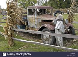 Old Ford Truck Junkyard - old ford truck sits in a field on a pumpkin farm stock photo