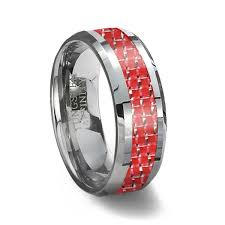 red silver rings images Tungsten carbide ring red carbon fiber inlay red wedding ring jpg
