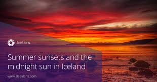 summer sunsets and the midnight sun in iceland