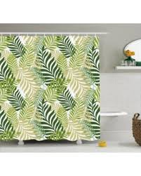 Palm Tree Bathroom Accessories by Save Your Pennies Deals On Leaves Decor Shower Curtain Set