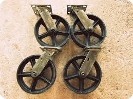 reproduction cast iron casters vintage swiveling 8 inch caster