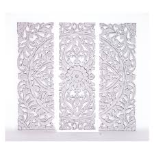 carved wood wall woodland imports white carved wooden wall plaque set of 3