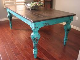 stained table top painted legs rustic turquoise dining table unique rustic stained top lots of