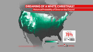 Christmas Map Historical Probability Of A White Christmas Climate Central