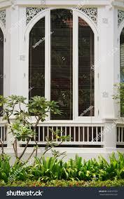 big white window balcony garden this stock photo 493107793