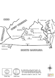 Road Map Virginia by Virginia State Map Coloring Page Free Printable Coloring Pages