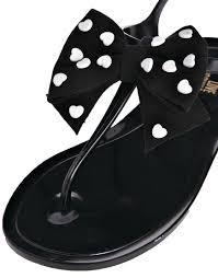 love moschino heart bow black jelly flat sandals in black lyst