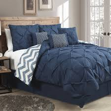 7 piece modern pinch pleated comforter set king navy blue ease home design premium cotton orange white line regarding pleated comforter sets