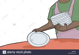 Setting A Table by Woman With Stack Of Plates Setting A Table Stock Photo Royalty