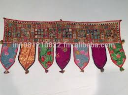 Cotton Indian Design Mirror Work Wall Hanging Toran Patchwork Door - Indian wall hanging designs