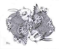ying yang koi fish design in tribal style