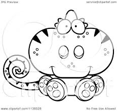 cartoon clipart of an outlined cute sitting chameleon lizard