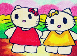 how to draw and colour hello kitty for kindergartens and kids