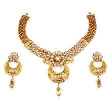 ethnic gold necklace images Pearl ethnic gold plated floral designer necklace designer jpg