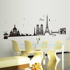 romantic paris city view diy wall stickers wallpaper art decor