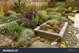 backyard fantastic landscaping patio fence raised stock photo