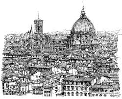 architecture of florence skyline in ink drawing by adendorff design