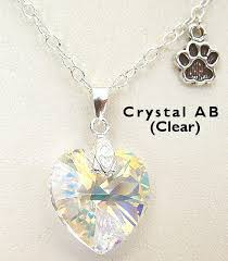 crystal heart necklace images Crystal heart and paw necklace jpg