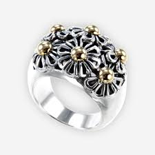 flower design rings images Two tone silver daisy cocktail ring with 14k gold accents jpg