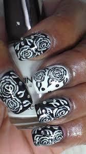 black and white rose nail art youtube