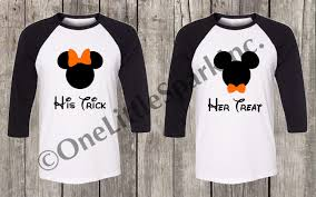disney halloween couple shirt his trick her treat disney