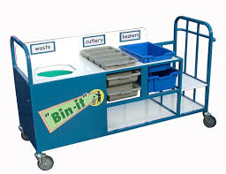 Cutlery Trays Schools Clearing Trolley With Large Bin And Cutlery Trays