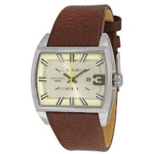 diesel starship beige dial dark brown leather men u0027s watch dz1704