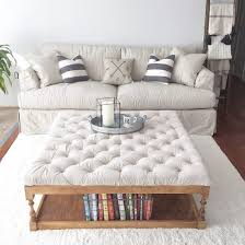 Grey Tufted Ottoman Coffee Table Upholstered Coffee Table