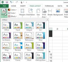 colour themes for excel how to use theme formatting in excel 2013 dummies