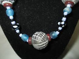 beautiful beads necklace images Beautiful vintage black burgundy and blue beaded necklace glass jpg
