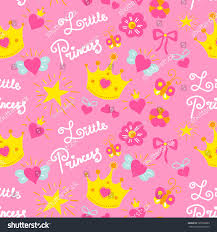 pink little princess pattern vector sweet stock vector 520328803