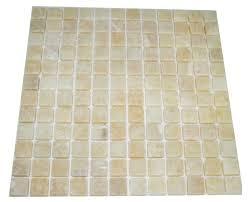 honey onyx 1x1 tumbled mosaic tiles meshed on 12