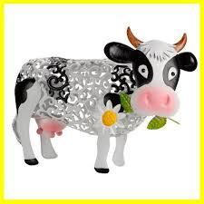 smart garden solar metal silhouette cow garden ornament