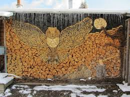 creates beautiful wood mosaics out of stacked firewood