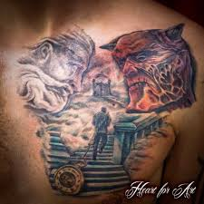 heaven and hell religious chest tattoo heart for art tattoo