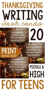 thanksgiving activity for 20 writing task cards school