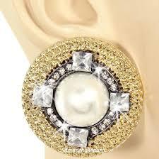 big stud earrings princess pearl pave big stud earrings gold black