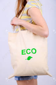 Eco Bag by Woman With Eco Bag Isolated On White Stock Photo Picture And